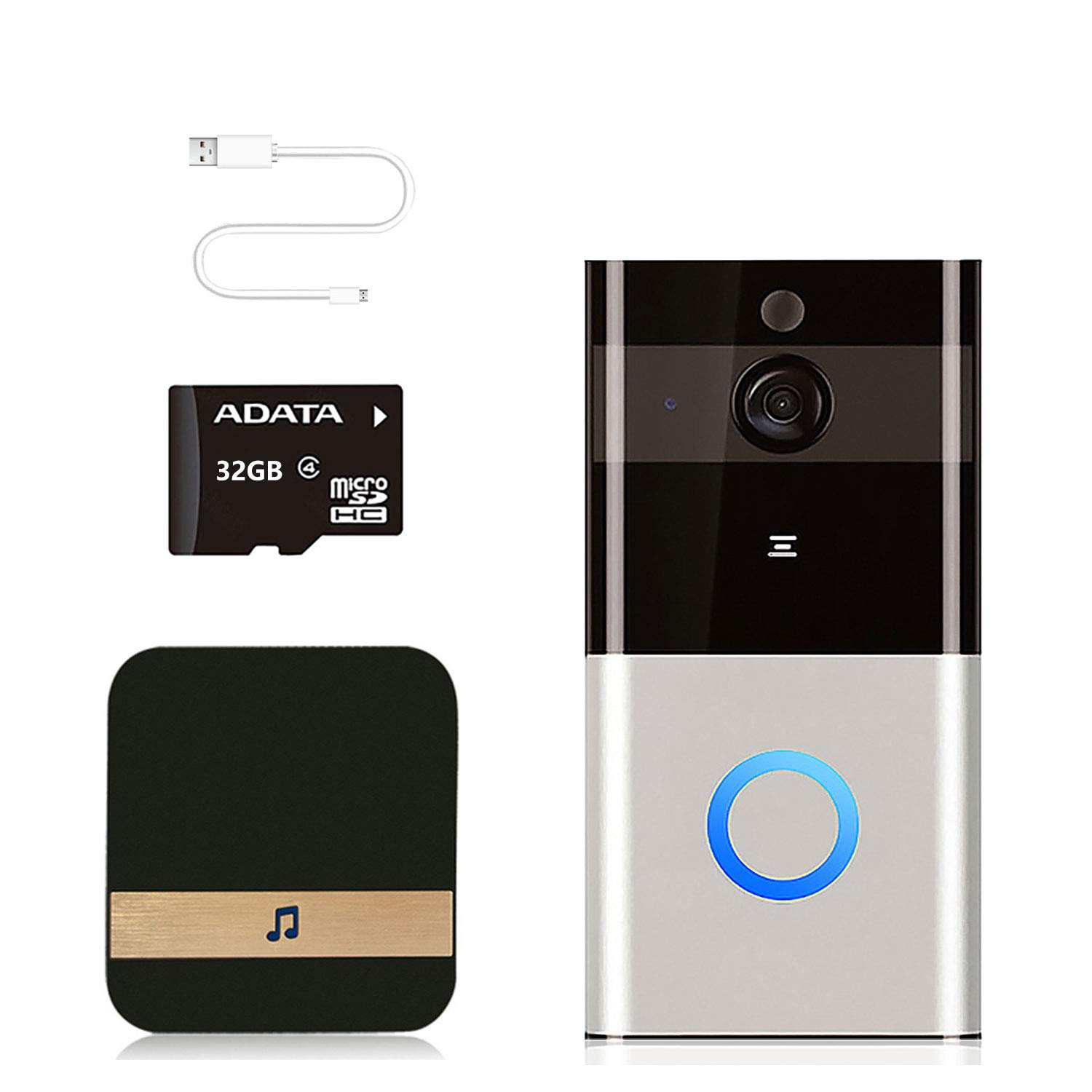 Video Doorbell Camera Wireless 1080P HD Smart WiFi Doorbell with Door Chime, 2-Way Audio & 32G Memory Card, Night Vision, IP65 Waterproof, Advanced Motion Detection Visual for Home Security