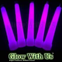 "Glow Sticks Bulk Wholesale, 100 6"" Industrial Grade Purple Light Sticks. Bright Color, Glow 12-14 Hrs, Safety Glow Stick with 3-Year Shelf Life, GlowWithUs Brand"