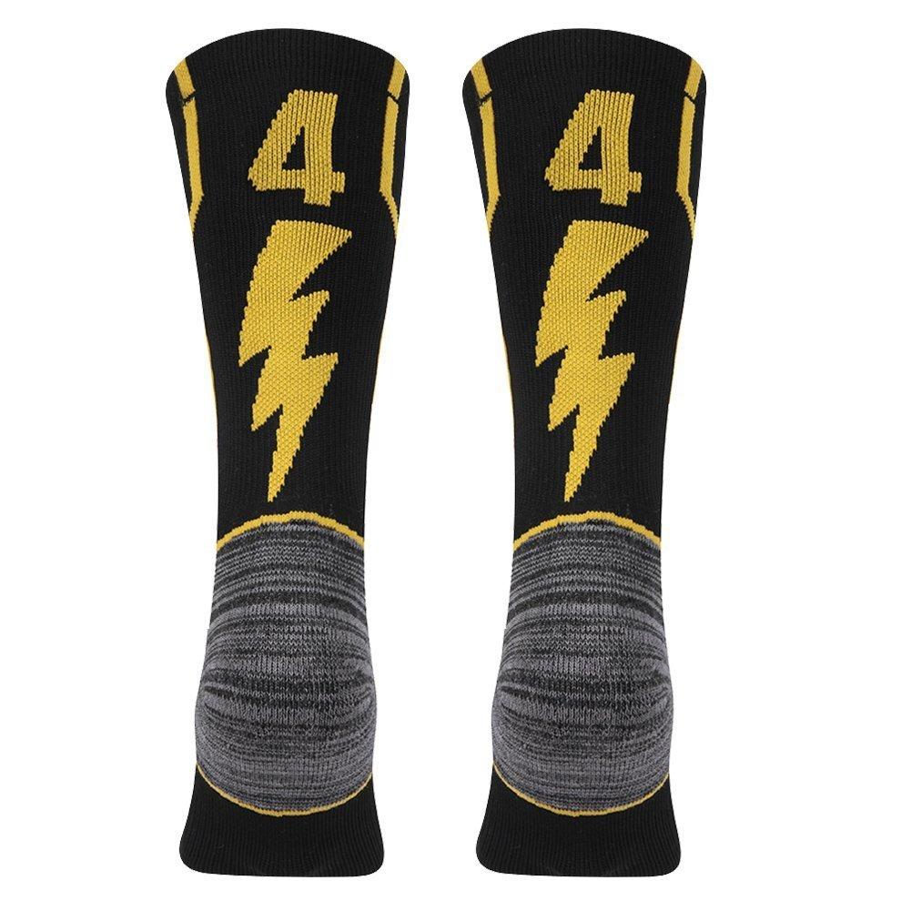 KitNSox Adult Youth Mid Calf Cushion Team Sports Number Socks for Basketball Football Baseball Gold/Black