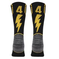KitNSox Adult Youth Mid Calf Cushion Team Sports Number Socks for Basketball Football Baseball Gold/Black