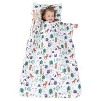 JALPC 4 Season Baby Sleep Sack - Premium Gauze Cotton Slumber Bag 100% Natural - Animal Forest Wearable Blanket with Removable Cotton Liner 59x47inch for 5-12 Year Old