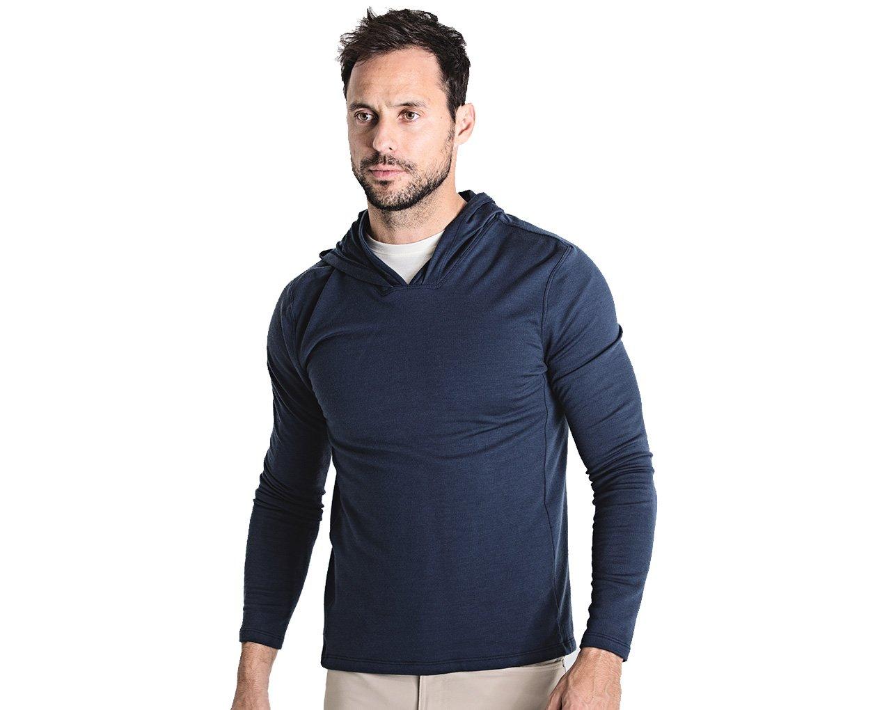 OLIVERS Apparel, Mens Merino Wool Performance Porter Hoodie. Odor Resistant, Water Repellent, and Temperature Regulating (Navy, Medium)