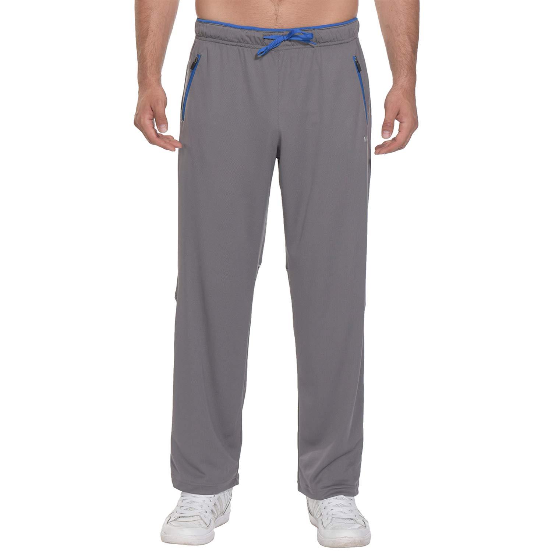 MAPILEKT New Men's Zipper Pocket Light Fitness Exercise Jogging Night Run Reflective Strip Training Slacks