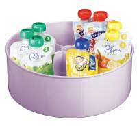 mDesign Deep Plastic Lazy Susan Turntable Storage Tray - Divided Spinning Organizer for Nursery/Kid's Room - Store Lotions, Wipes, Diapers, Baby Shampoo - 5 Sections - Light Purple