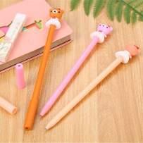 WIN-MARKET Animal Skirt Bear Gel Ink Pen Cute Kawaii Black Writing Pens Ballpoint Black Ink Gel Pen Party Gift Gel Ink Pens Funny School Stationery Office Supplies(6PCS)