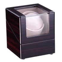 Yescom Automatic Single Watch Winder Display Box Cherry Wooden White Lint Inside Storage Organizer Case Japan Motor