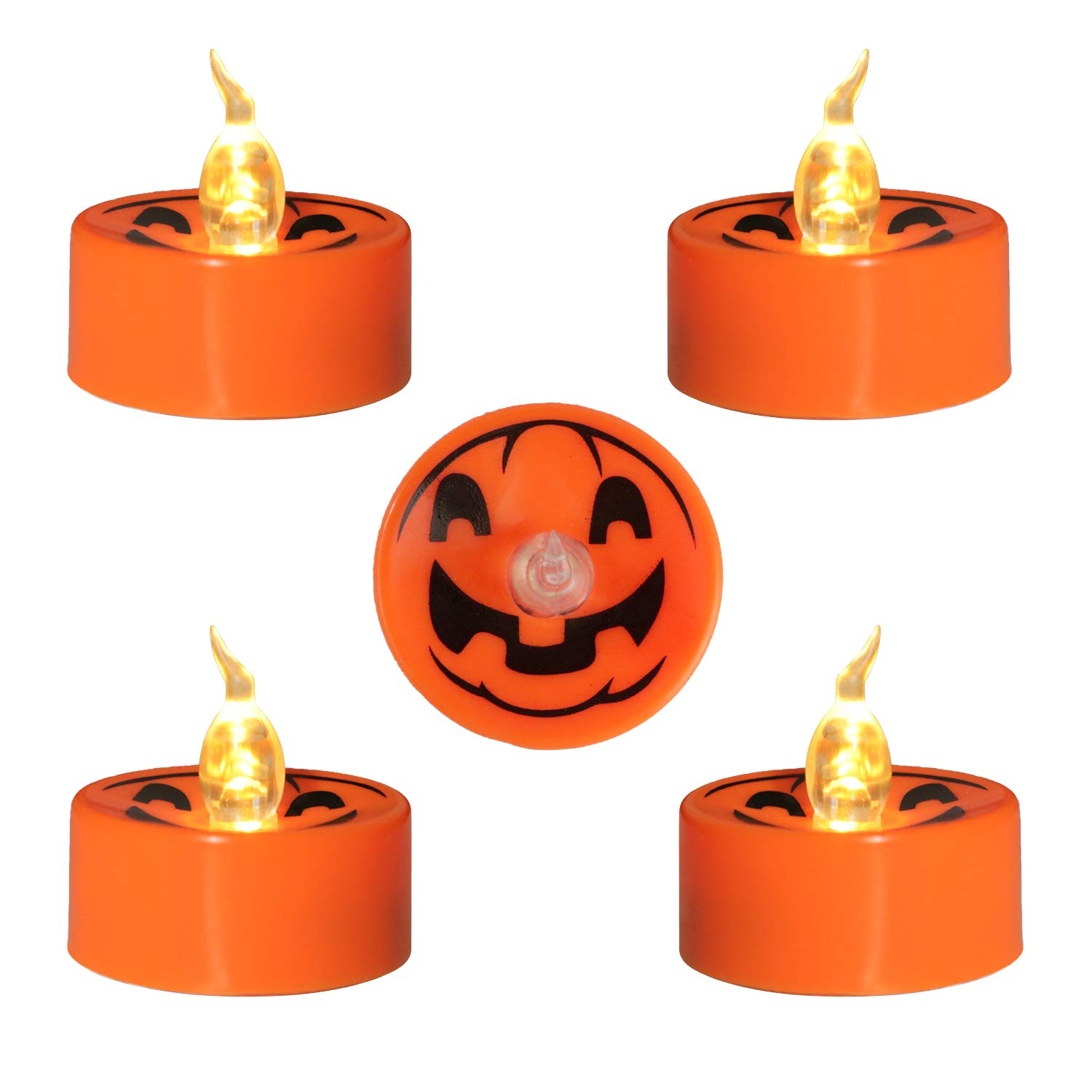 Youngerbaby 12 Pack Orange Halloween Candles Battery Operated for Pumpkin Lantern, Flickering LED Tea Light Indoor Outdoor Home Party Decoration 1.4 Inch Tealight Holiday