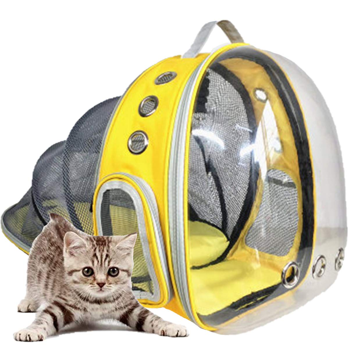 Shiningirl Expandable Breathable Mesh Front and Back Pet Cat Small Dog Carrier Backpack Space Capsule Carrying Travel Cage for Hiking Walking Outdoor Use