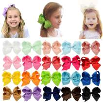 Baby Girls Toddler Hair Bows with Alligator Clip Grosgrain Barrettes Bundles Accessories for Infant (6 inch, 20Pcs)