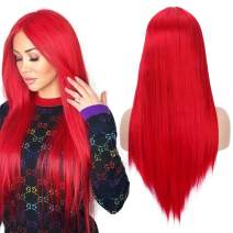"Fani 22"" Long Straight Red Wigs for Women Natural Hairline Middle Part Synthetic Wigs for Women Halloween Cosplay Party Costume (113#)"