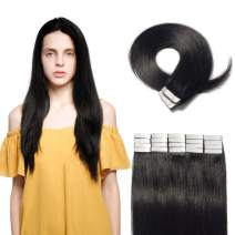 Tape in Hair Extensions 100g 40 Pieces Rooted Remy Human Hair Straight Seamless Skin Weft Invisible Double Sided Tape 40pcs 24'' /24inches #1 Jet Black +20pcs Free Tapes