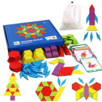 FGWAF Gift 155 Pcs Wooden Pattern Blocks for Toddlers - Best Educational Toys