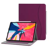 "Fintie Case for iPad Pro 11"" 2018 [Supports 2nd Gen Pencil Charging Mode] - Multi Angle Viewing Folio Cover with Pocket [Secure Pencil Holder] Auto Sleep/Wake for iPad Pro 11 2018, Purple"