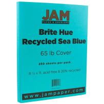 JAM PAPER Colored 65lb Cardstock - 8.5 x 11 Coverstock - Sea Blue Recycled - 250 Sheets/Ream