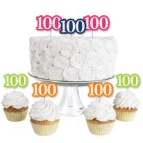 100th Birthday - Cheerful Happy Birthday - Dessert Cupcake Toppers - Colorful One Hundredth Birthday Party Clear Treat Picks - Set of 24
