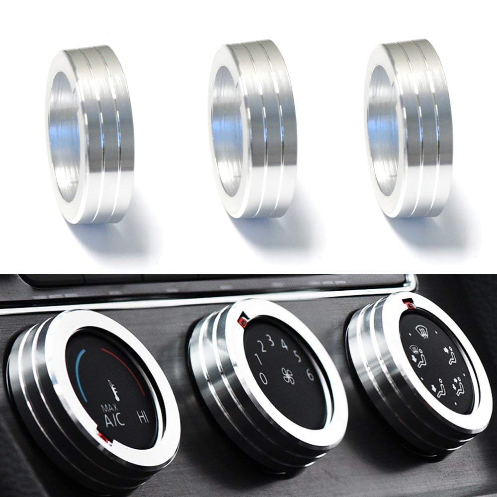 iJDMTOY 3pcs Silver Anodized Aluminum AC Climate Control Ring Knob Covers Compatible With Volkswagen MK7 Golf GTI