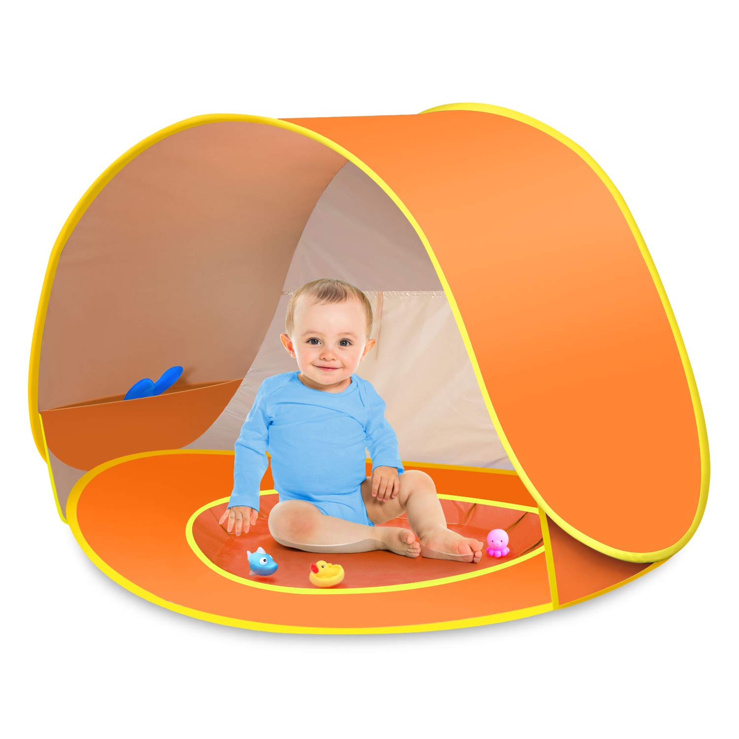 CeeKii Baby Beach Tent Pop Up Tent Portable Shade Tent UV Protection Sun Shelter with Mini Pool, Carry Bag and Detachable Shade for Toddler, Infant & Kids, 50+ UPF