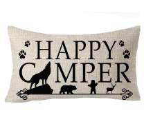 FELENIW Wild Life Animal Wolf Elk Bear Paw Print Happy Camper Arrow Cotton Linen Decorative Throw Pillow Cover Cushion Case Lumbar 12x20 inches
