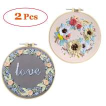 LCHULLE 2 Pack Embroidery Starter Kit With Stamped Pattern DIY Beginner Kit For Art Craft Handy Sewing Decor Include Floral Pattern Embroidery Cloth, Embroidery Hoop, Color Threads, Tools, Instruction