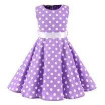 Girls Sleeveless Summer Swing Casual Clothes Vintage Floral Print Polka Dot Dress for 3-11Years