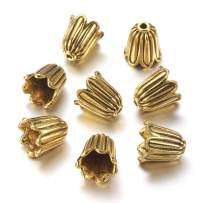 Craftdady 20Pcs Antique Gold Flower Spacer Bead Caps 10x10mm Tibetan Metal Cone Bead End Caps for Jewelry Making Hole: 1mm Nickel Free Lead Free Cadmium Free