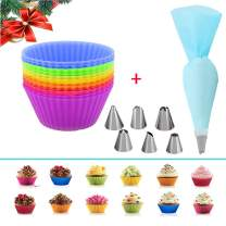 12 Pack Reusable Non-stick Baking Cups - Silicone Cupcake/Muffin Baking Cups 2-3/4 Inch Regular Size in 6 Rainbow Colors + Reusable Pastry Bag and 6 Decorating Tips