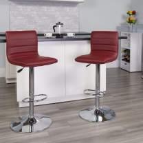 Flash Furniture Modern Burgundy Vinyl Adjustable Bar Stool with Back, Counter Height Swivel Stool with Chrome Pedestal Base