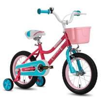 "CYCMOTO Girls Bike for 3-6 Years Child, 14"" & 16"" Kids Bicyle with Basket Hand Brake & Training Wheels(Pink Teal)"