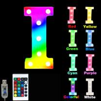16 Color Changing Marquee Letter Light,Light Up Colorful 26 Alphabet Signs – Home Decor Name Signs – Battery Operated LED Remote Timer – Lighted Vintage Accessories & Decorations-I