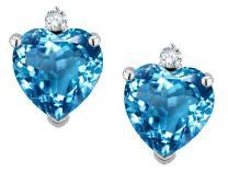 Star K Solid 10k Gold Heart Shape Earrings Studs