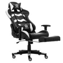 Gaming Chair Racing Office Chair Computer Desk Chair Executive and Ergonomic Reclining Swivel Chair with Headrest, Lumbar Cushion and Retractable Footrest (White)