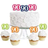 90th Birthday - Cheerful Happy Birthday - Dessert Cupcake Toppers - Colorful Ninetieth Birthday Party Clear Treat Picks - Set of 24