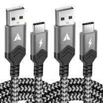 USB C Cable [2 Pack 6.6Ft] Premium Nylon Braided Type C Fast Charging Cable Compatible BLU Vivo 6,Energy XL,Vivo 5,Vivo XL,LG,Google Pixel and More-Gray