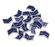 Set of 20 Metal Buff Counters, Token, Creature Stats or Loyalty, Double Sided +1/+1 and -1/-1 for CCG, MTG Magic: The Gathering, Blue Enamel