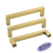 """goldenwarm Brushed Brass Cabinet Handles Gold Kitchen Cabinet Pulls-LSJ12GD128 Bathroom Cabinet Hardware Modern Square Drawer Pulls 5"""" Hole Center 20 Pack"""