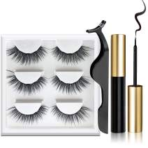 Magnetic Eyeliner and Lashes Kit, Magnetic Eyeliner for Magnetic Lashes Set, 3 Pair Reusable Lashes