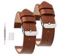 SANHEXING 2 Pack Genuine Leather Watch Bands Sports&Business Wristwatch Handmade Straps 18mm 20mm 22mm for Men and Women-Stainless Steel Buckle