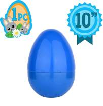 Totem World Jumbo 10-Inch Solid Blue Easter Egg - The Perfect Size For Holding Toys, Candy Bars, And Stuffed Animals - Easy To Open, Tough To Break - Great As Party Favors And Easter Basket Stuffers
