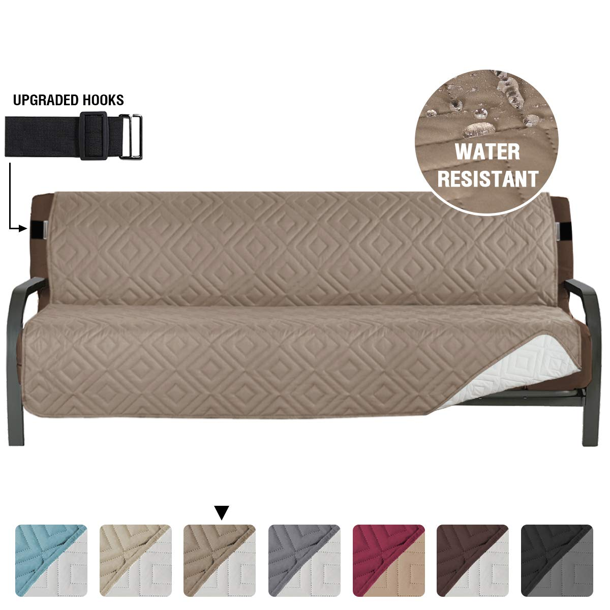 """Armless Futon Cover Futon Slipcover Full Queen Size Futon Couch Cover Futon Sofa Cover Futon Bed Cover Furniture Protector Water Repellent Soft Thick Quilted Reversible, Seat Width: 70"""", Taupe/Beige"""
