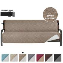 "Armless Futon Cover Futon Slipcover Full Queen Size Futon Couch Cover Futon Sofa Cover Futon Bed Cover Furniture Protector Water Repellent Soft Thick Quilted Reversible, Seat Width: 70"", Taupe/Beige"