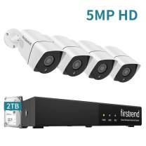 PoE Camera System 5MP,Firstrend Security Camera System PoE with 4pcs 1920P IP Security Cameras P2P PoE Home Security System with 2TB HDD Night Vision Free App