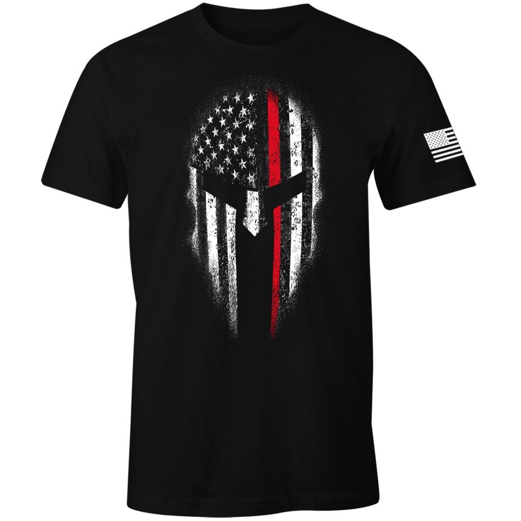 Thin Red Line USA Flag Firefighter Spartan Men's T Shirt
