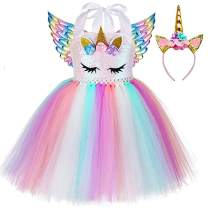 Birthday Unicorn Costume for Girls Halloween Princess Party Tutu Dress with Wings and Headband