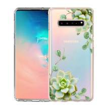 Unov Galaxy S10 5G Case Clear with Design Soft TPU Shock Absorption Embossed Floral Pattern Slim Protective Back Cover for Galaxy S10 5G Version 6.7inch (Succulent Plants)
