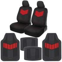 Motor Trend MTSC304MTSC688 ComfortPlush PU Leather Sideless Seat Covers (Front 2pc) & Heavy-Duty Floor Set (4pc Mat Combo) for Car Auto (Sedan Truck SUV Minivan)