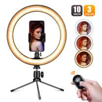 """10"""" Desktop Selfie Ring Light,Villsure LED Makeup Ring Light with Phone Holder & Remote for YouTube Video,Dimmable Desk Ringlight Kit for Photography with 3 Light Modes and 10 Brightness Level"""