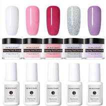NICOLE DIARY Dip Nail Powder Nail Starter Kit Acrylic Dipping System Clear Liquid Dipping Nail Powder for French Nail Manicure Set (Comes with Base, Activator, Top, Bond and Brush Saver)