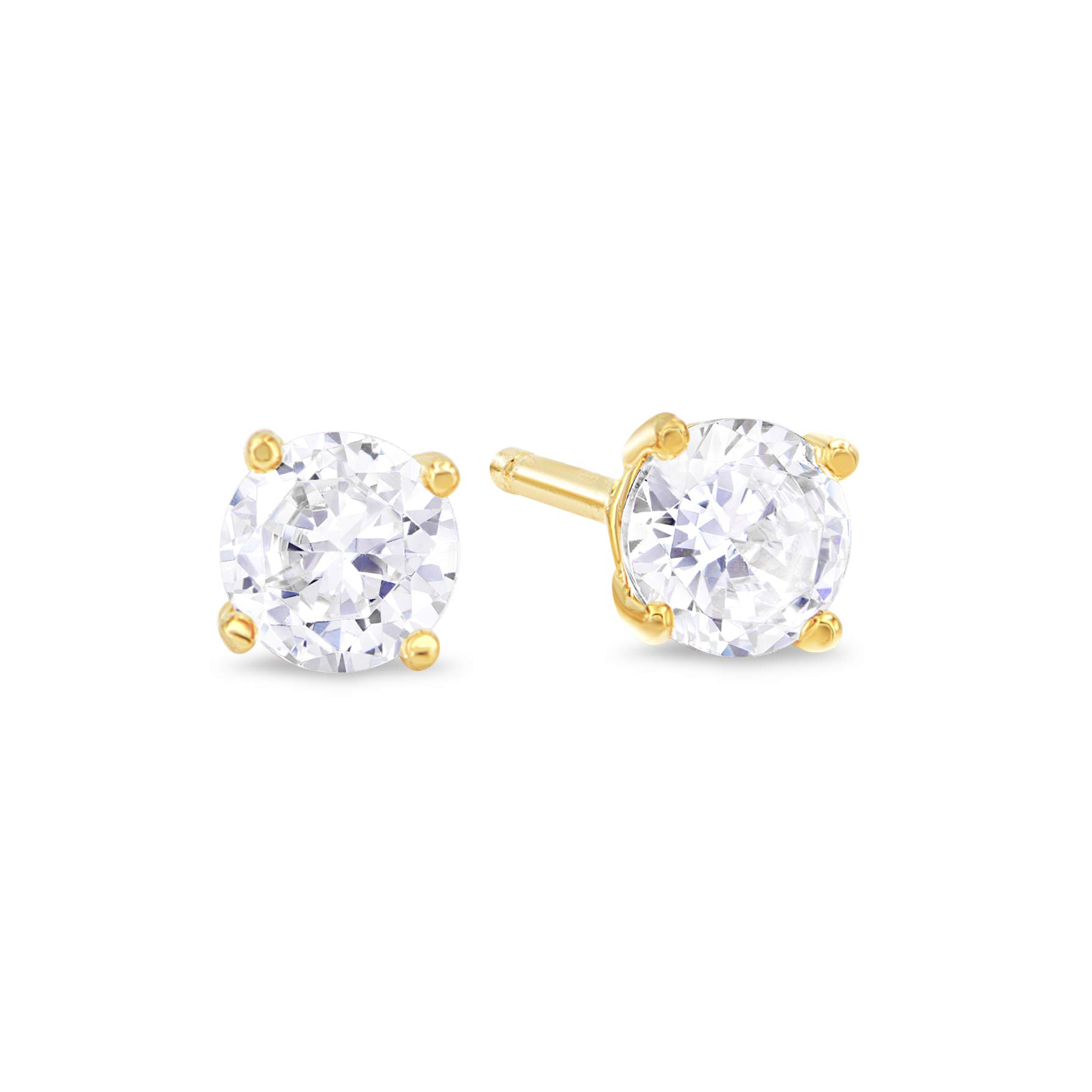 Kezef Gold Plated Sterling Silver Stud Earrings for Women and Men, Round Brilliant Cut CZ Cubic Zirconia in .925 Silver Basket Setting, 3mm - 15mm
