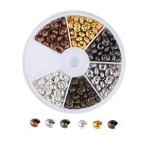 Pandahall 6 Colors Iron Crimp Bead Knot Covers 5mm Nickel Free for DIY Jewelry Making Findings (About 210pcs/box)