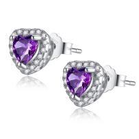 MABELLA Sterling Silver Halo Heart Simulated Birthstone Gemstone Earrings Studs Cubic Zirconia for Women